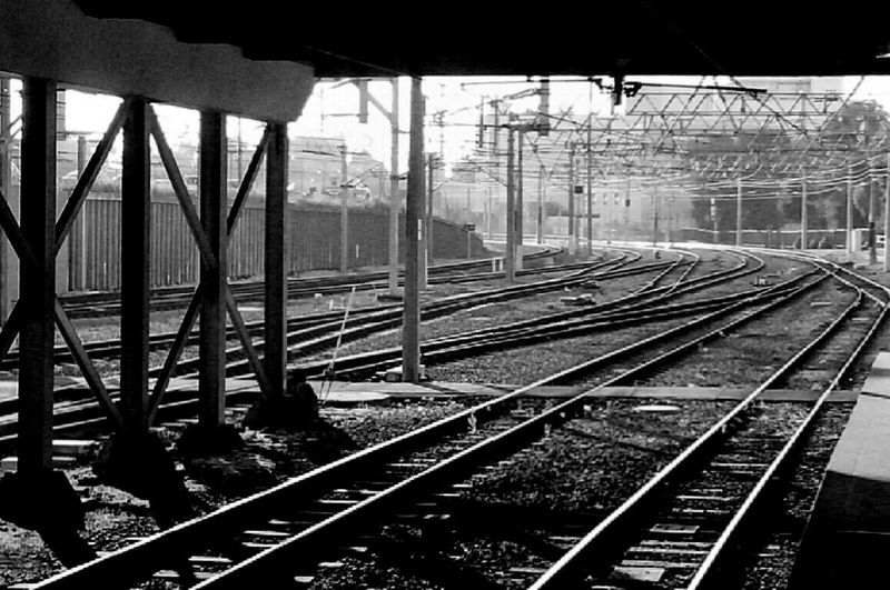 Perth Train Tracks Black And White Smokey Morning Australia