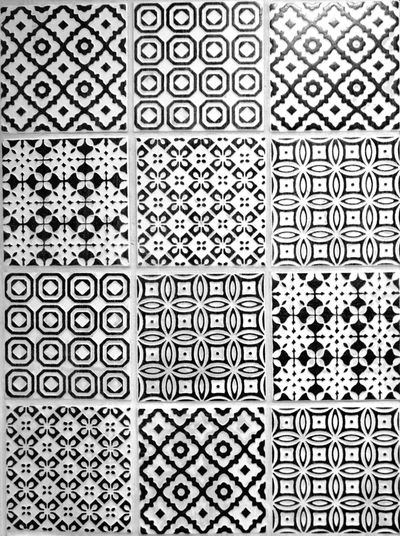 Pattern Full Frame Backgrounds No People Textured  Black & White Tiles Tile Art