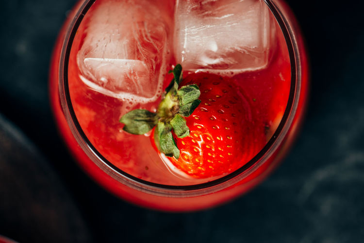 Close-up of strawberries in glass