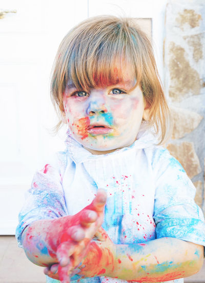 One Person Child Childhood Portrait Front View Paint Offspring Headshot Hair Looking At Camera Blond Hair Multi Colored Innocence Indoors  Messy Dirt Hairstyle Dirty Bangs Human Face Artist Artistic Creativity Individuality Talent