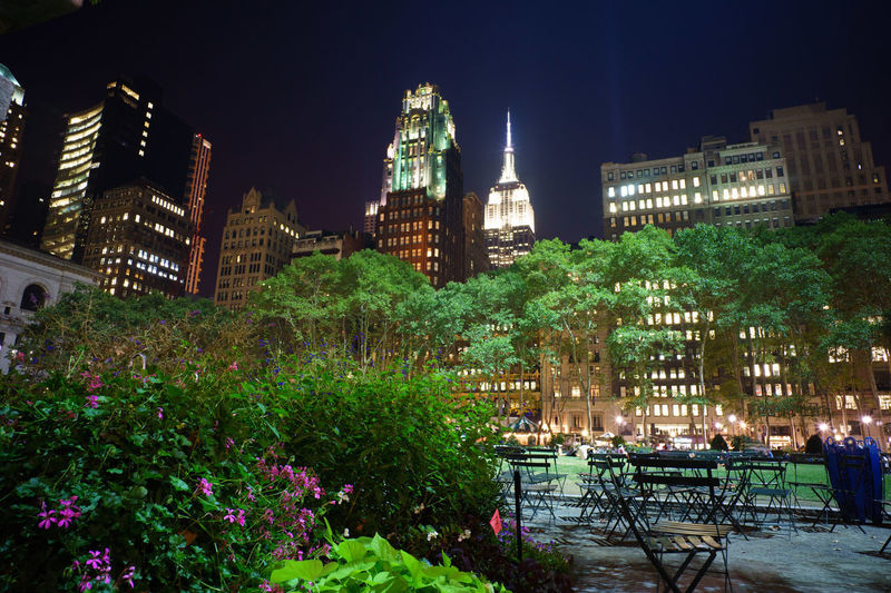 Bryant Park at night with Bryant Park Hotel and Empire State Building in the background, New York City Bryant Park NYC Empire State Building New York City Architecture Bryant Park Hotel Building Exterior Illuminated Night Park Skyscraper Travel Destinations Tree