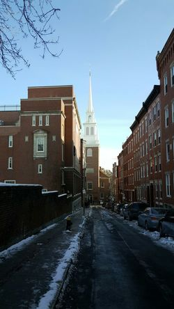 One if by land... Old North Church Boston Building Exterior Built Structure City SkyOutdoors Architecture Winter City Street Cold Temperature Snow Place Of Worship Revolutionary Religious Freedom Steeple EyeEm Best Shots - Architecture The City Light