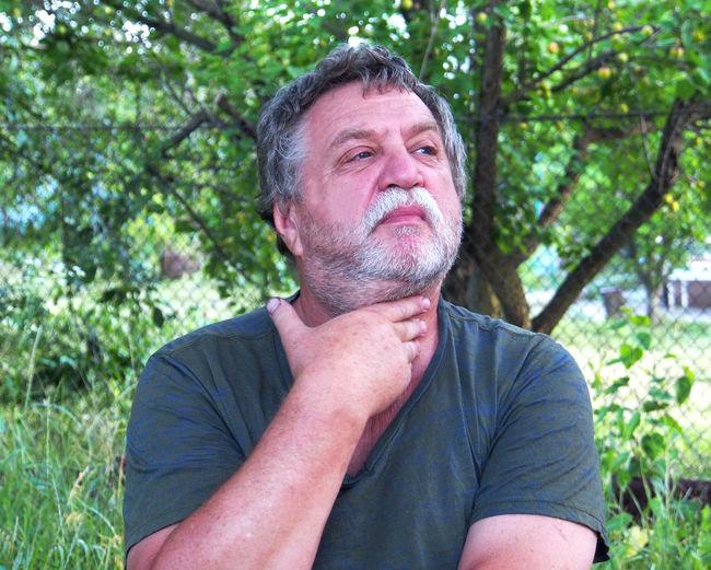 Sad Man Looking Away Outdoors
