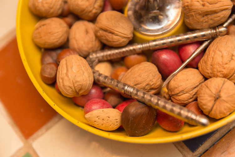High angle view of fruits in bowl on table