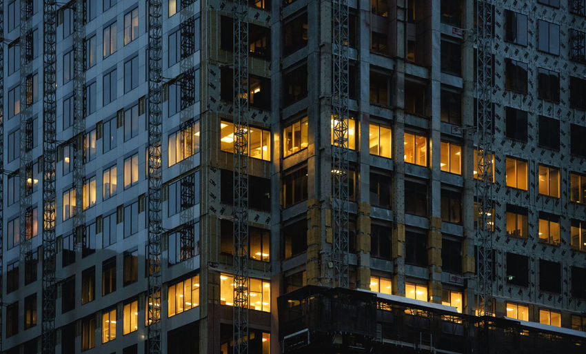 Closeup of exterior building, down town Toronto Illuminated Building Exterior Built Structure Architecture Low Angle View Night No People Building Full Frame Window Modern Backgrounds Glowing Office Pattern City Toronto Exterior Moody Sky Construction Landmark Close-up The Architect - 2019 EyeEm Awards