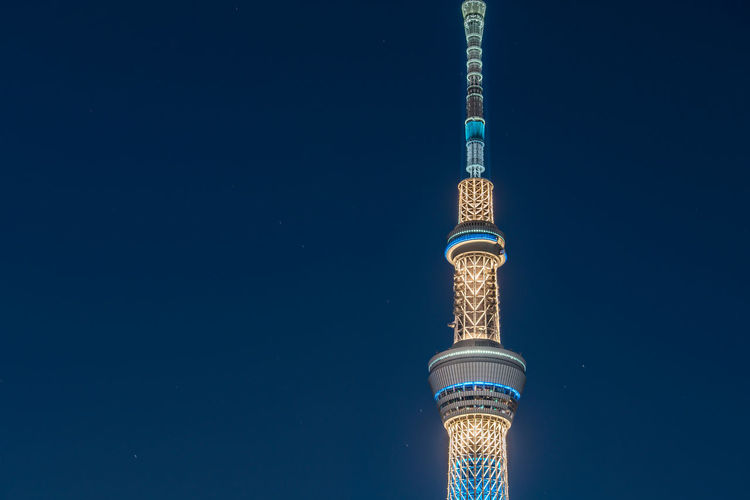 View of illuminated tokyo sky tree against sky at night