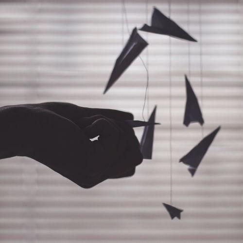 Window Plane Silhouette Body Part Creativity Hand Holding Human Body Part Human Hand Origami Paper Paperplane Paperplanes Art Craft Thread