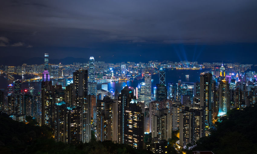 Hong Kong cityscape from the peak Architecture ASIA Building Exterior Built Structure City Cityscape Crowded Downtown District Financial District  High Angle View Hong Kong Illuminated Modern Night Outdoors Sky Sky And Clouds Skyscraper Skyscrapers Tall Travel Destinations Urban Skyline
