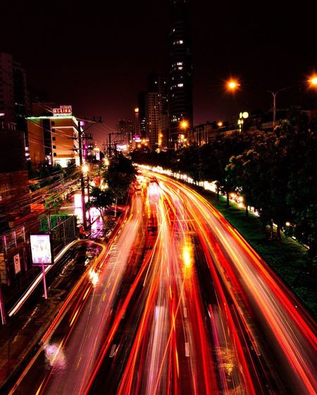 The flash Speed Illuminated Night Motion Road Street Traffic Rush Hour