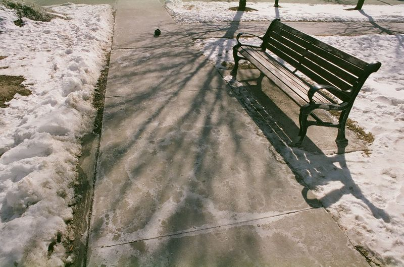 High angle view of empty bench in park during winter