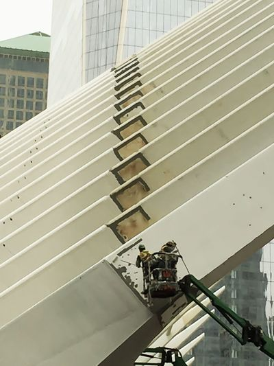 World Trade Center one is Painted with white Paint By Hand ! incredible Painters Painting Hashtagcrazy Miqua On Vacation
