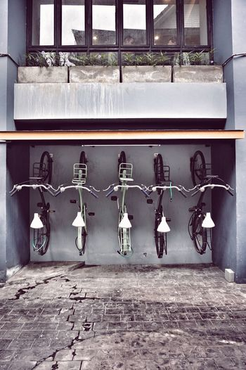 Old bicycles parade on the wall Bicycle Architecture Building Exterior Outdoors Cafe City No People Portrait