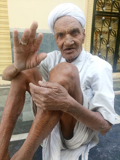 Senior man 80 Plus Years Casual Clothing Day Elderly Man Farmer Indian Culture  Indian Ethnicity Leisure Activity Lifestyles Looking At Camera Man Old Portrait Rajasthan Rajasthani Retirement Senior Man Traditional Clothing