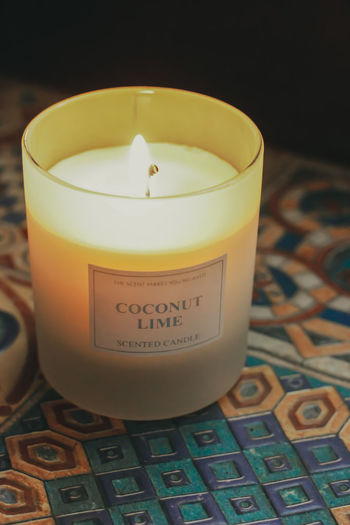 Single Scented Candle Candle Scented Candle Lit Scented Candle Drinking Glass Close-up