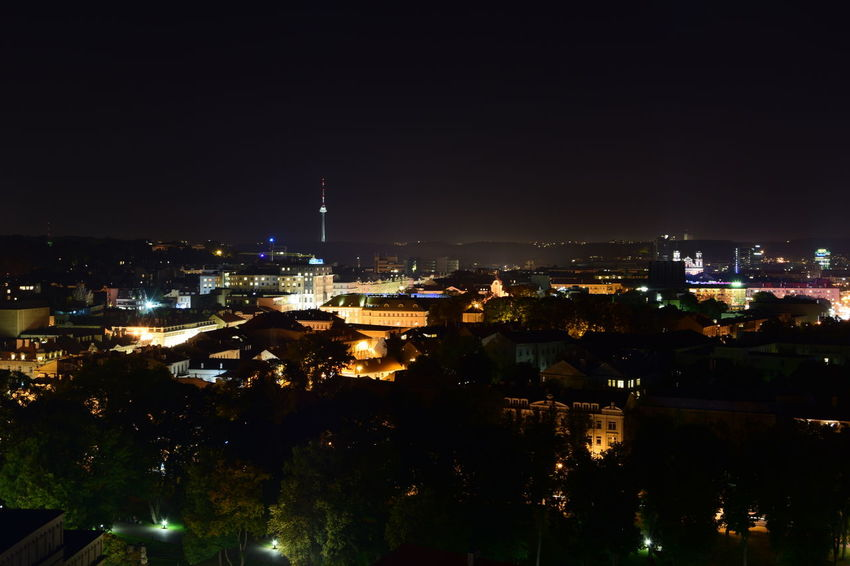 Vilnius at night - before the start of the Fireworks festival Capital Cities  City City Life Cityscape High Angle View Illuminated Night No People Skyscraper Tourism Tower Travel Destinations Urban Skyline Vilnius Vilnius City