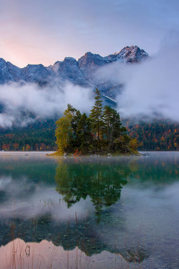 Beauty In Nature Cloud - Sky Fog Idyllic Lake Mountain Mountain Range Nature No People Non-urban Scene Outdoors Plant Reflection Scenics - Nature Sky Tranquil Scene Tranquility Tree Water First Eyeem Photo