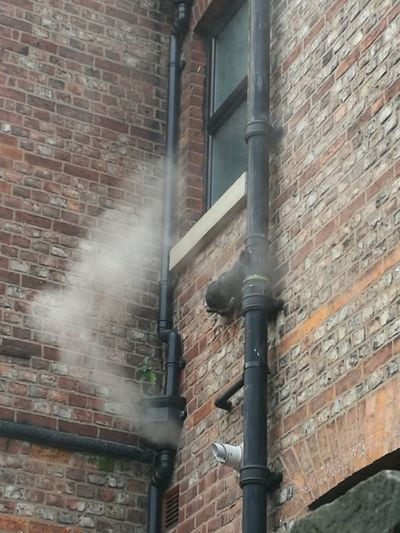 Smoke Suburbia Winter Brick Wall Architecture Building Exterior Built Structure Day No People Pipe - Tube Outdoors