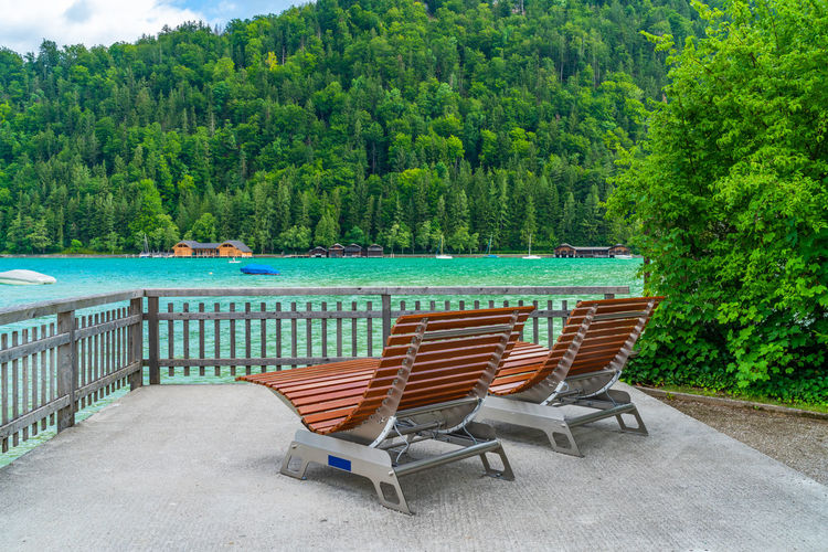 Chairs by railing and sea against trees in forest