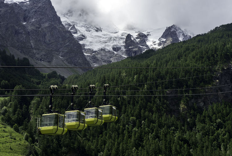 Overhead Cable Cars Mountains Against Sky