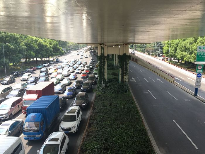 From My Point Of View Mobility In Mega Cities Traffic Traffic Jam Aerial View Bridge Car Contrast Day High Angle View Land Vehicle Mode Of Transport No People Outdoors Road Transportation