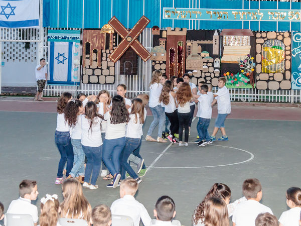 Nahariya, Israel, May 24, 2017 : Schoolchildren from the school Katzenelson celebrate 50 years of unification of the city of Jerusalem in the courtyard of the school in Nahatiya, Israel Banner Birthday Boy Celebrate Celebration Childhood Children Day Event Flag Friends Friendship Girl Group Holiday Israel Jerusalem Jewish Outdoors Party People Pupil School Schoolchildren Symbol