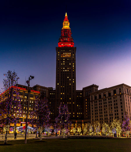 Christmas Lights Cleveland Public Square Architecture Illuminated Outdoors Terminal Tower