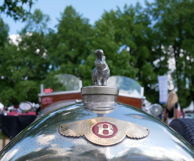 Statue Focus On Foreground Sculpture Day Outdoors Human Representation Tree No People Close-up Sky Bugatti Classic Car Classicdays2017 Oldtimer