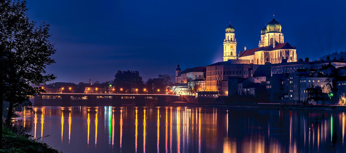 Night Passau , Germany. Building Exterior Architecture Built Structure Water Building Religion Illuminated Reflection Sky Night Spirituality Belief Dusk Nature River City No People Outdoors Passau, Germany Night Lights Night Passau Dom St. Stephan