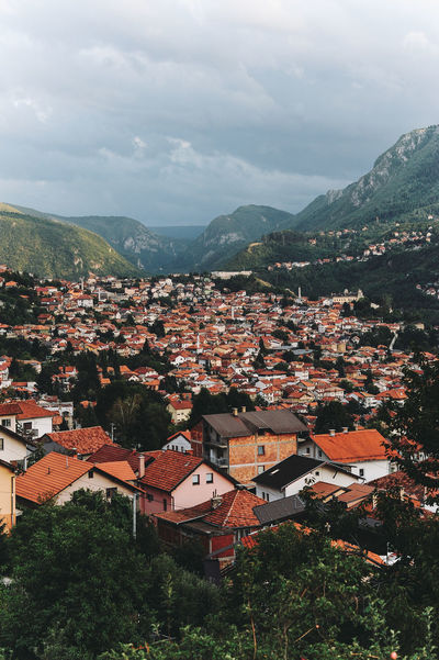 BIH Bosnia And Herzegovina Architecture Beauty In Nature Bosnia Building Exterior Built Structure City Cityscape Day High Angle View House Mountain Mountain Range Nature No People Outdoors Residential  Sarajevo Scenics Sky Tiled Roof  Town Tree