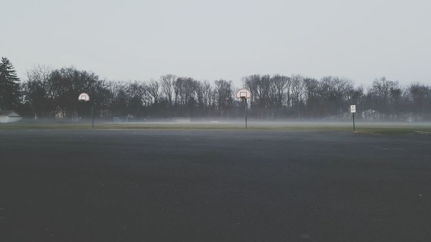 Foggy Morning Fog Dreamy Dull But Beautiful Field School Basketball Empty Space Negative Space EyeEm New Jersey Samsung Galaxy Note 5 Samsungphotography New Jersey Photography New Jersey EyeEm Nature Lover Taking Photos No People Winter Landscape Nature Tranquility