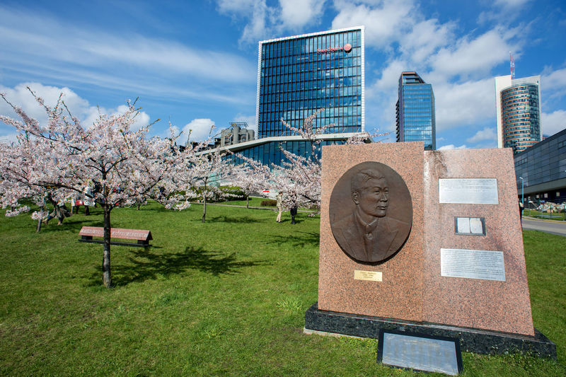 Sugihara House Vilnius Architecture Beauty In Nature Blossom Building Exterior Built Structure Cherry Blossom Cherry Tree City Cloud - Sky Communication Day Flower Flowering Plant Grass Growth Office Building Exterior Outdoors Plant Sky Skyscraper Springtime Tree 杉原千畝