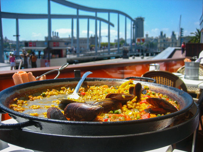 Close-up of food in city