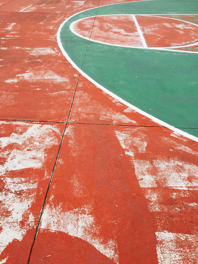 Basketball - Sport Close-up Court Day High Angle View No People Outdoors Red Sport Swimming Pool