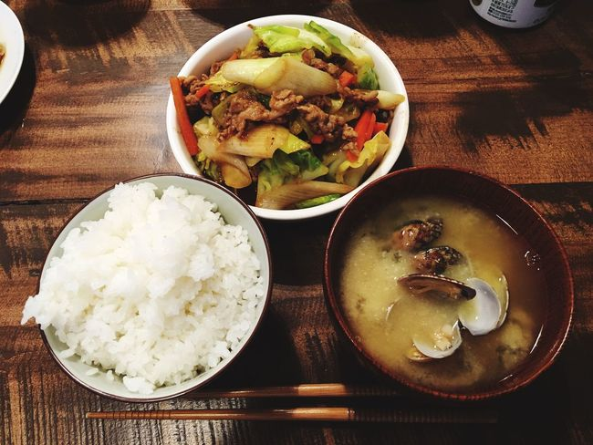 Dinner 夕食 あさりの味噌汁 野菜炒め 3月20日(日)