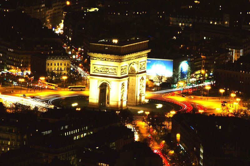 This photo is taken from the top of the Eiffel Tower (330m) with ny Canon 1200D, ISO 100, Exposure time 30s. Night Downtown Lights Urban Traffic Champs-Élysées  Long Exposure Photography France Europe
