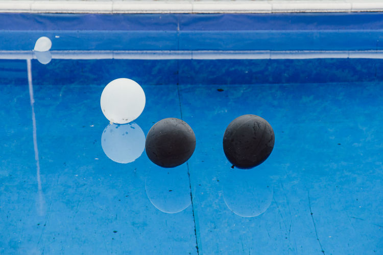 High angle view of ball in swimming pool