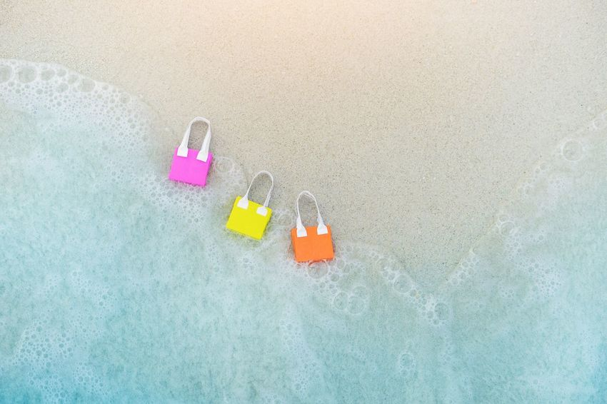 Pink Color Summer Sea Beach Blue Wave Shopping ♡ Mall Market Shoppingbag Bag Colorful Travel Business Buy