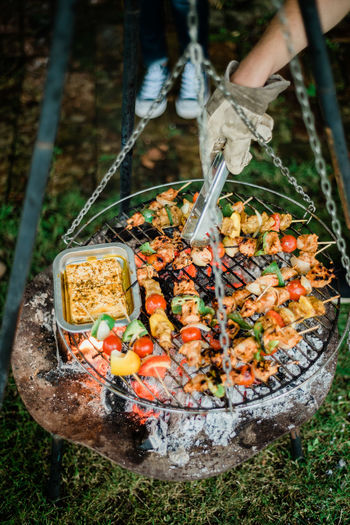 Food Food And Drink Barbecue Meat Human Body Part Hand Human Hand Barbecue Grill One Person Day Preparation  High Angle View Freshness Holding Kitchen Utensil Preparing Food Wellbeing Nature Heat - Temperature Outdoors