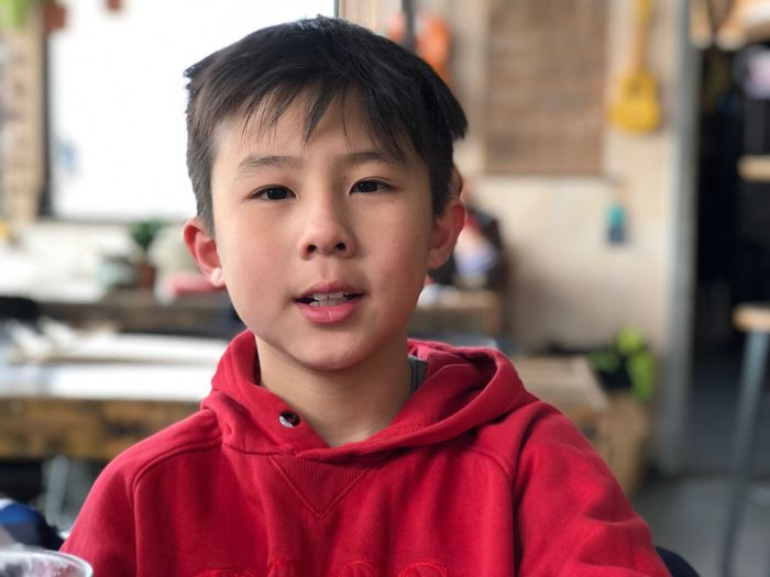 Close-up portrait of boy at home