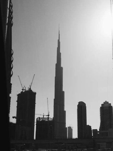 Monochrome Photography Architecture Building Exterior City BurjKhalifa