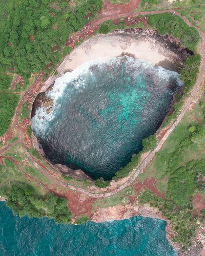 High angle view of rocks