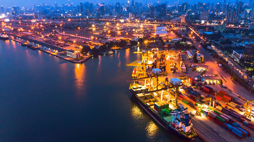 Nightphotography Architecture Building Exterior Business Cargo Container City Cityscape Commercial Dock Container Docks Freight Transportation Harbor High Angle View Illuminated Light And Shadow Mode Of Transportation Nature Nautical Vessel Night Outdoors Pier River Shipping  Transportation Water