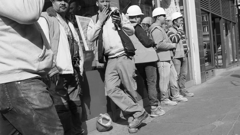 Smoking Workers Adult Adults Only Black And White Builders Day Helmet Men Occupation Outdoors People Real People Standing Steetphotography Street