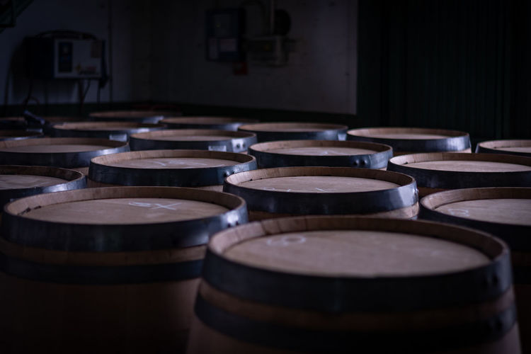 High angle view of wine casks in winery