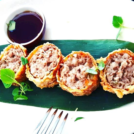 Ngohiong Peranakan Food Nonya Peranakan Asian Foods Baba Nyonya Singapore Food Malaysian Food Fivespiceporkroll Plate Table Close-up Food And Drink