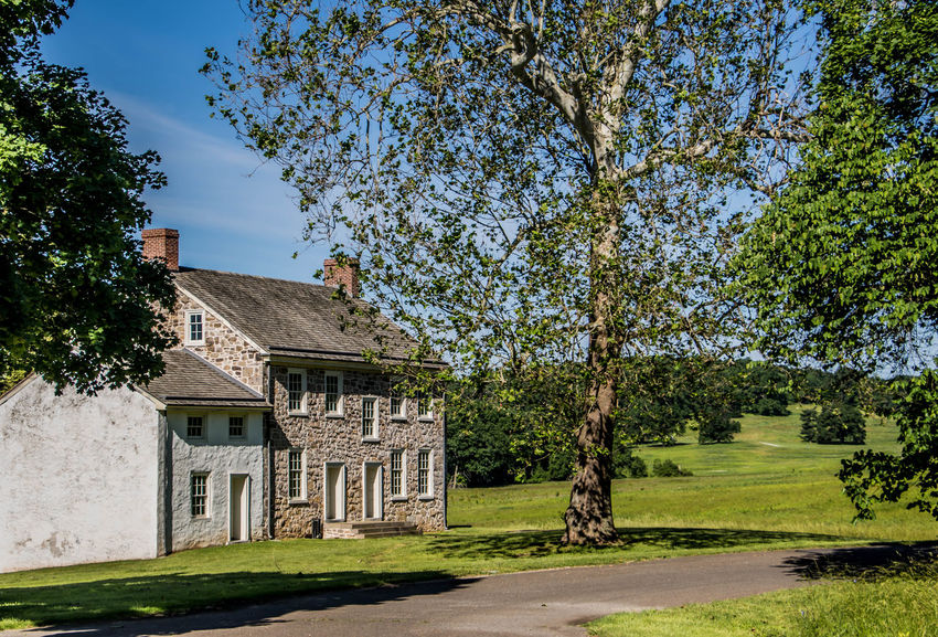 Maurice Stephens House Architecture Blue Built Structure Day Façade Footpath Grass Green Green Color Growth Lawn Nature No People Outdoors Plant Revolutionary War Sky Sunlight Sunny Tranquility Travel Destinations Tree Tree Trunk Valley Forge National Park Walkway