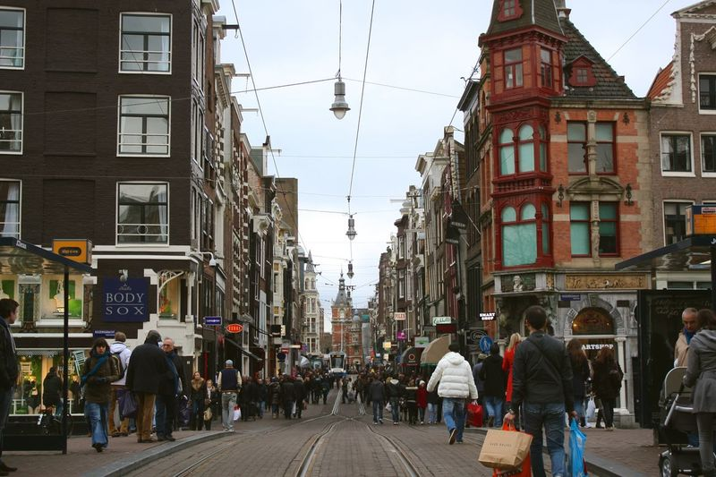 Architecture Building Exterior Built Structure City City Life City Street Large Group Of People Leisure Activity Lifestyles Pedestrian Person Street The Way Forward Transportation Walking Your Amsterdam