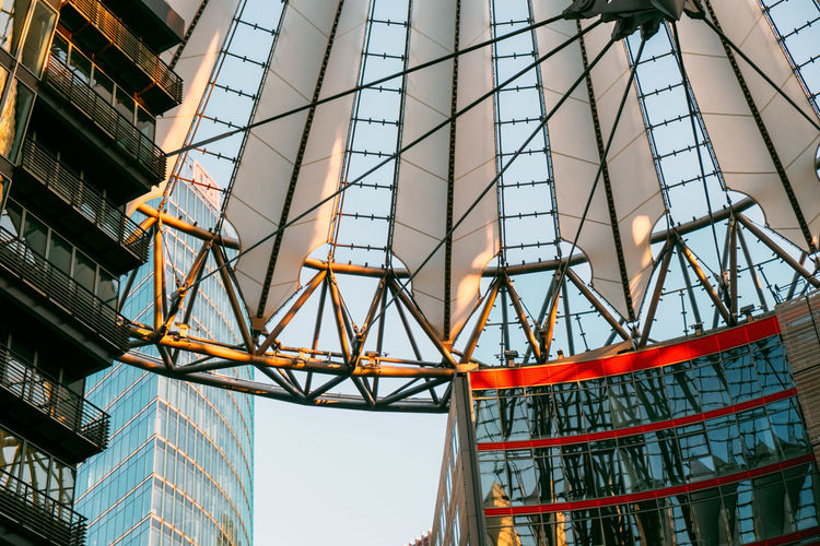 Sony Center Sony Center Berlin Architecture Arts Culture And Entertainment Building Building Exterior Built Structure City Clear Sky Day Glass - Material Industry Low Angle View Metal Modern Nature No People Office Office Building Exterior Outdoors Potsdamer Platz Sky Skyscraper