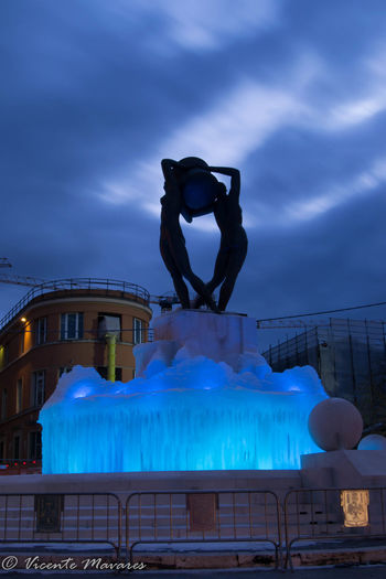 #Light & Shadow #Night #abruzzo #italy #photography #fountain Built Structure Representation Sculpture Statue