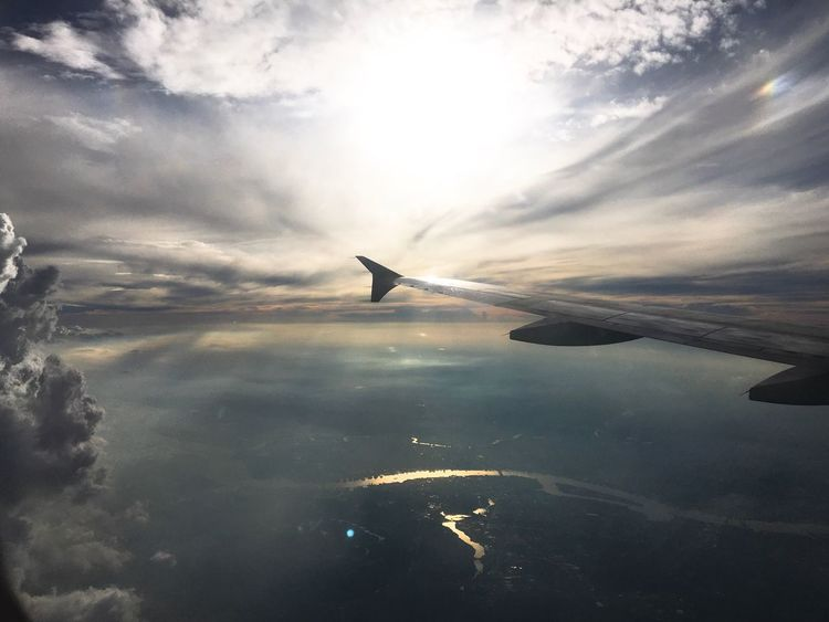 📷✈ Airplane Cloud - Sky Airplane Wing Transportation Nature Sky Aerial View Flying Beauty In Nature No People Journey Mid-air Water Outdoors Mode Of Transport Travel Scenics Air Vehicle Sea Aircraft Wing